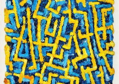 """Bernd Schwarzer – """"Europabild (Gold-Blau) Labyrinth"""""""